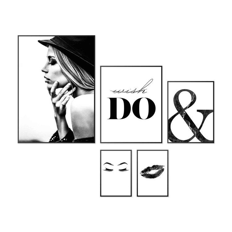 Wish it, do it Vrouw - Stijlvol - Quote - Set van vijf schilderijen [xxx5]  MDF