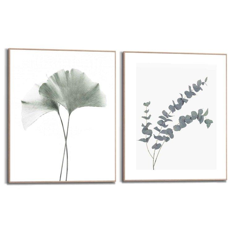 Eucalyptus Blad  Tak - Plant - Natuur - Botanisch  - Set van twee schilderijen 40x50 cm  Hout