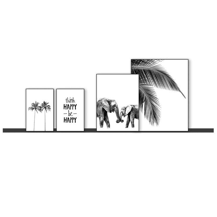 Be Happy  Palm - Gelukkig - Boom - Modern - Olifant - Set van 4 schilderijen  Hout
