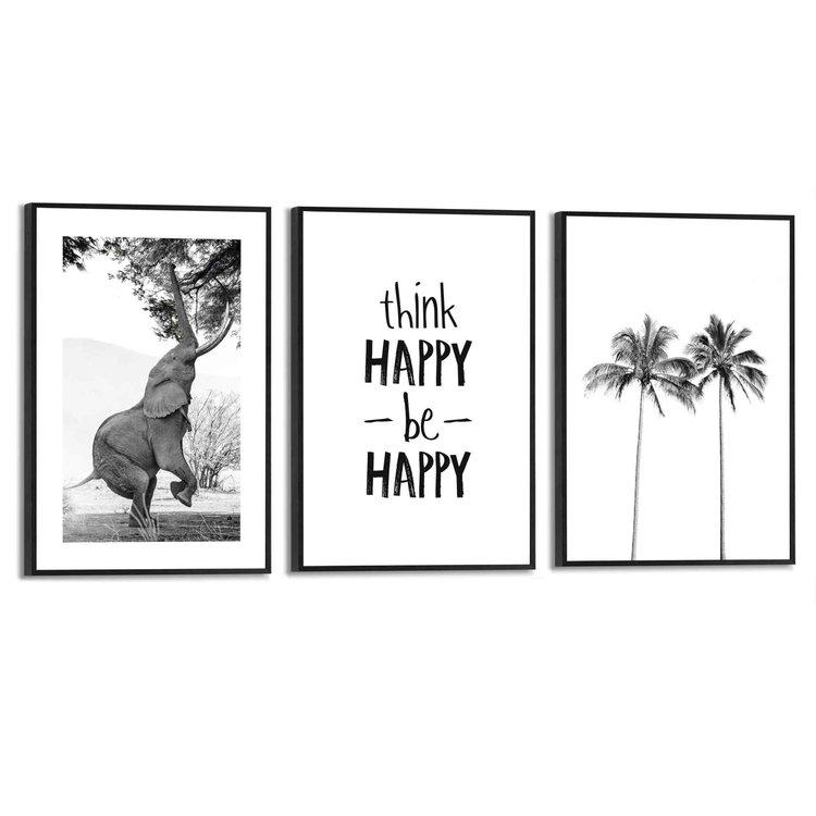 Happy Vrijheid - Palmboom - Olifant - Blij - Set van 3 schilderijen  MDF