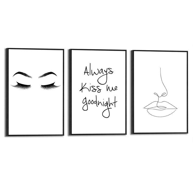 Kus Lijntekening - Illustratie - Modern - Quote - Vrouw - Set van 3 schilderijen  MDF