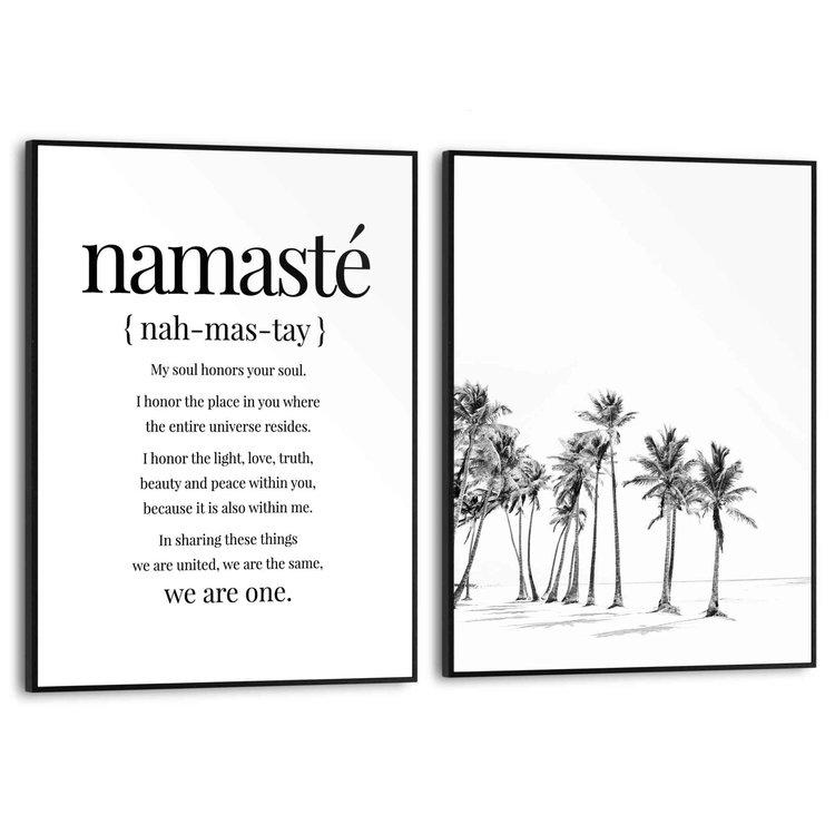 Rust Namasté - Strand - Palmbomen - Zen - Set van 2 schilderijen  MDF