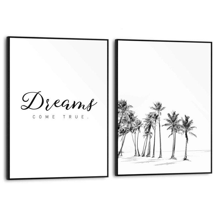 Dromen Strand - Modern - Quote - Palmbomen - Set van 2 schilderijen  MDF