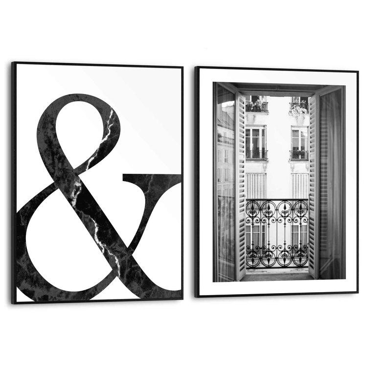 Frans Balkon Stijlvol - Modern - Frankrijk - Set van 2 schilderijen  MDF