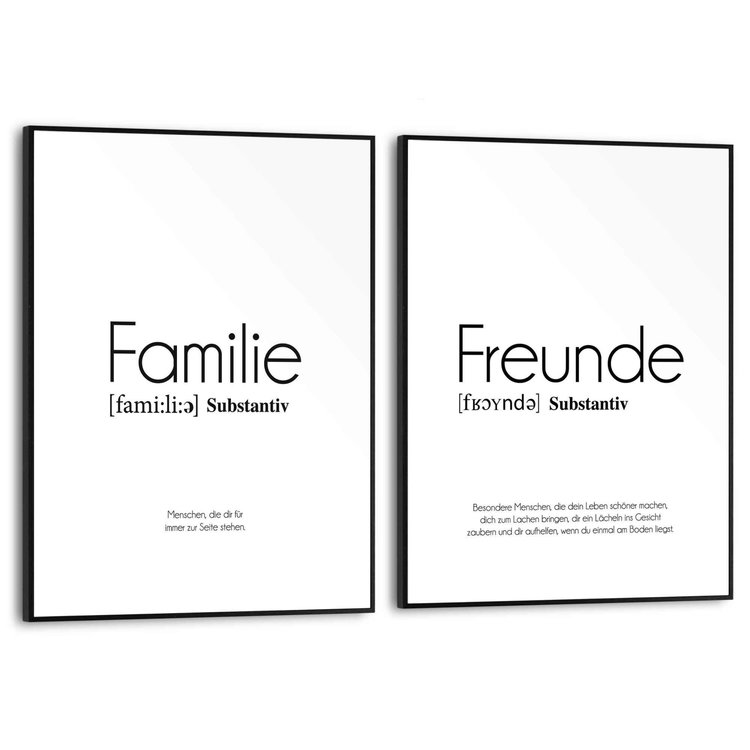 Familie Vrienden - Duitse Tekst - Set van 2 schilderijen  MDF