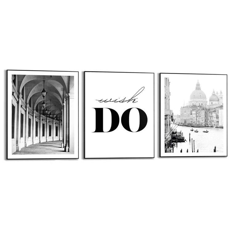 Do and Go Venetië - Italie - Vintage - Gang - Set van 3 schilderijen  MDF