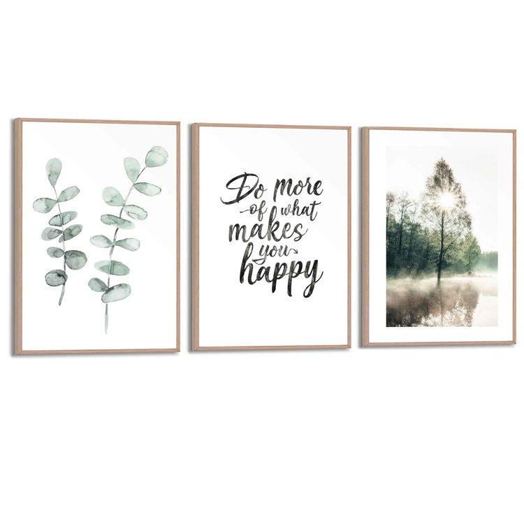 Natuur  Bomen - Zon - Wandelen - Blij - Set van 3 schilderijen  MDF