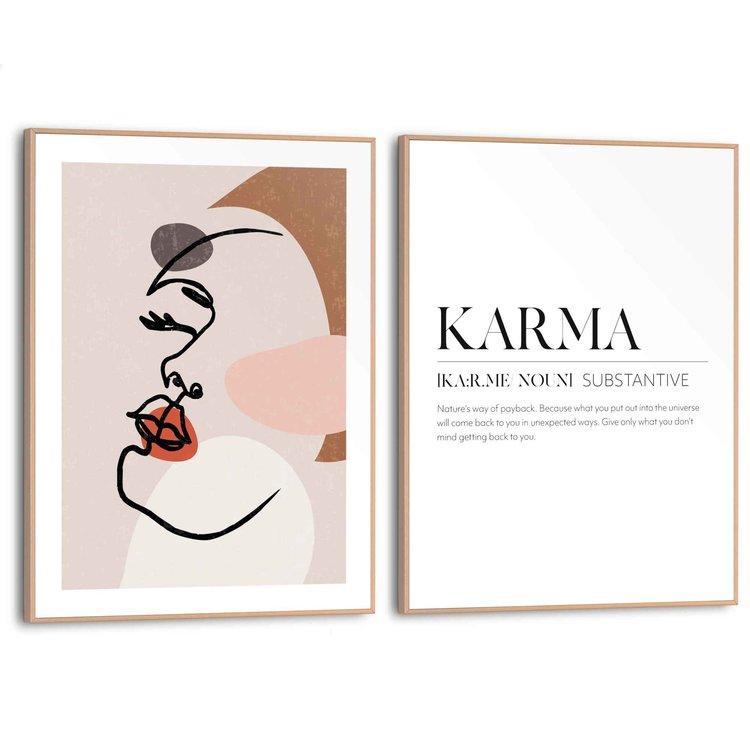 Abstract Vrouw - Lijn - Pentekening - Boeddha - Set van 2 schilderijen  MDF