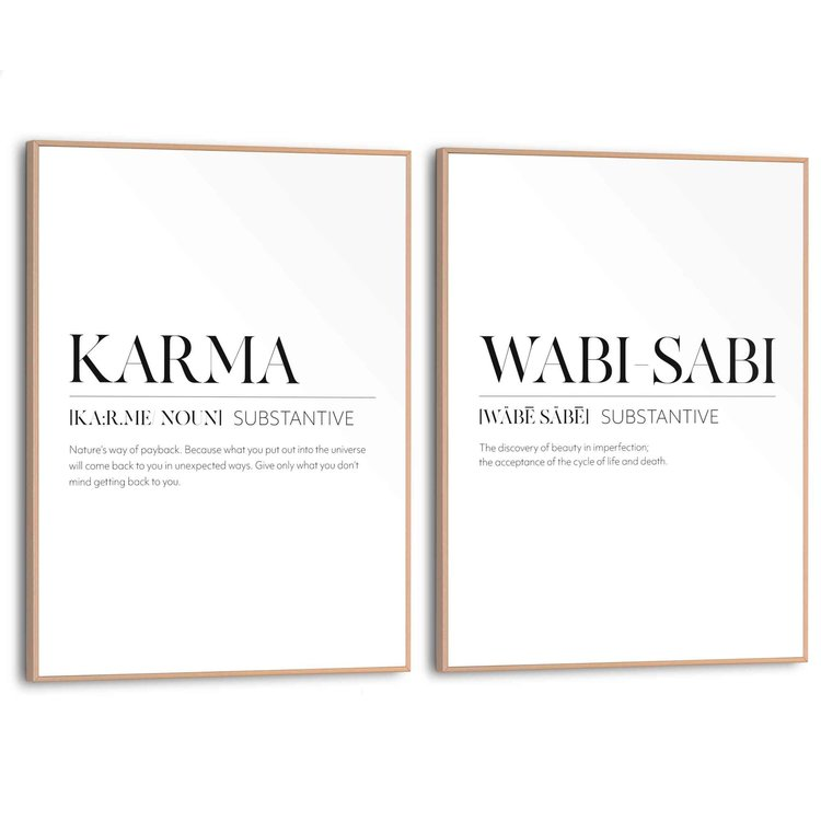 Imperfectie  Accepteren - Loslaten - Karma - Boeddha  - Set van 2 schilderijen  MDF
