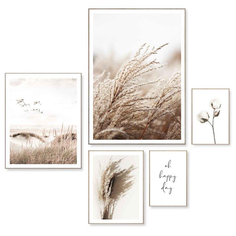 Happy Day Kraanvogels - Strand - Droogbloemen - Zee - Pampasgras  - Set van 5 schilderijen  MDF
