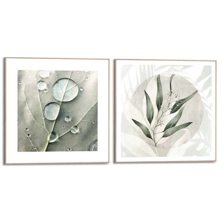 Dauwdruppel Botanisch - Bladeren - Abstract - Natuur - Set van 2 schilderijen  MDF