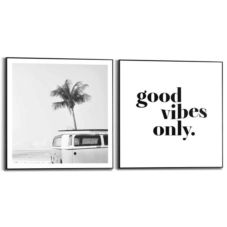 Good Vibes Vintage VW Bus - Strand - Surf -  - Set van 2 schilderijen  Hout