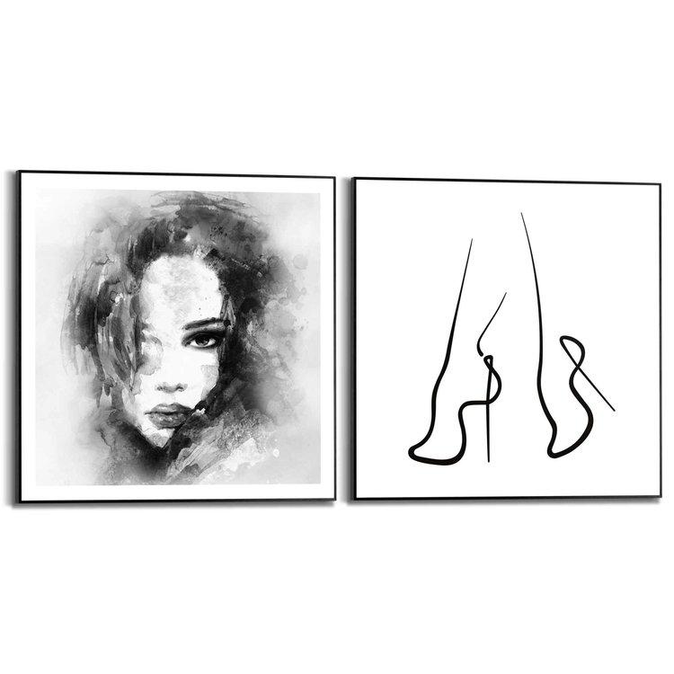 Illustratie  Vrouw - Portret - Abstract  - Set van 2 schilderijen  Hout