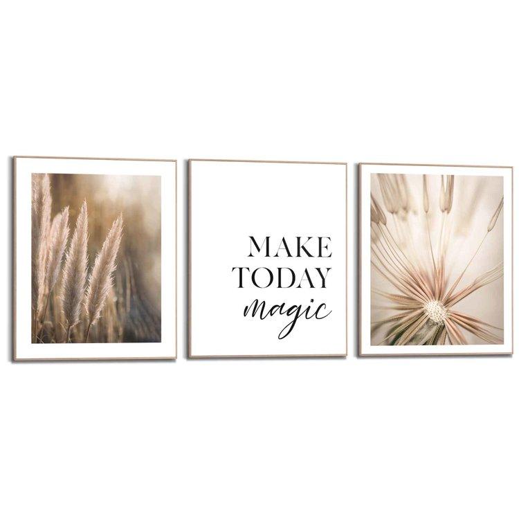 Positiviteit  Botanisch - Pampas - Paardebloem - Planten - Set van 3 schilderijen  Hout