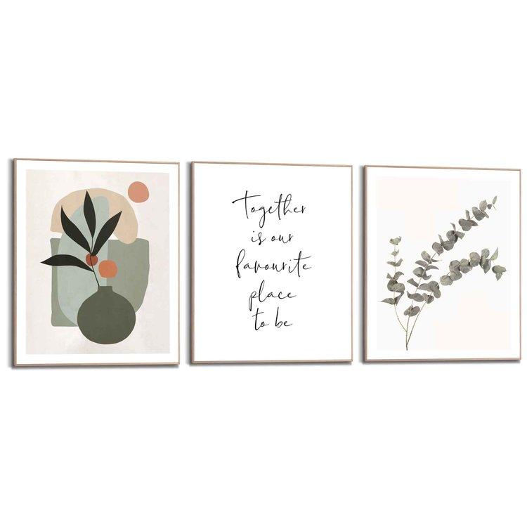 Samen trendy Natuur - Abstract - Bloemen - Vormen - Set van 3 schilderijen  Hout