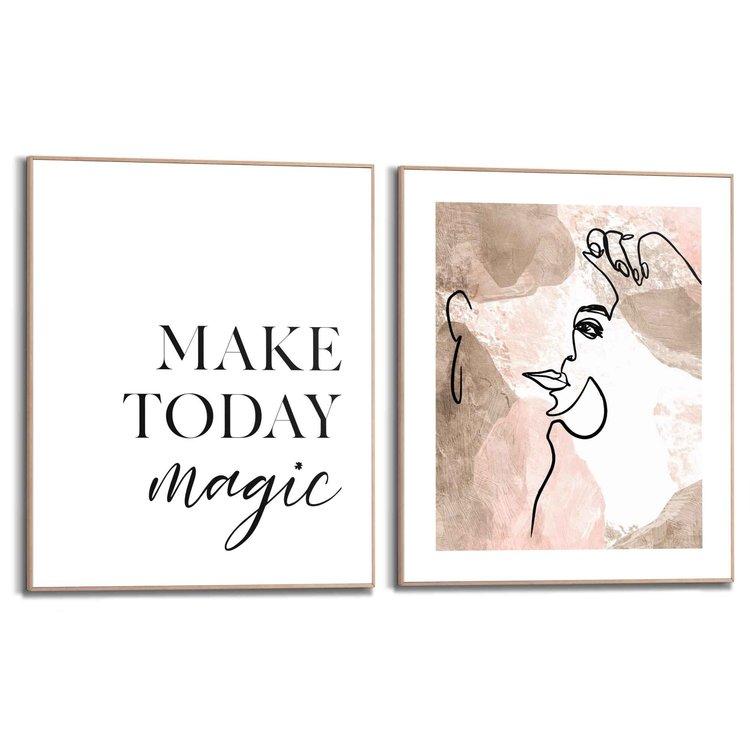 Magische lijnen Vrouw - Abstract - Quote - Positiviteit - Set van 2 schilderijen  Hout