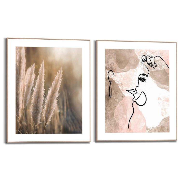 Natuurlijke lijnen  Pentekening - Abstract - Vrouw - Pampas  - Set van 2 schilderijen  Hout