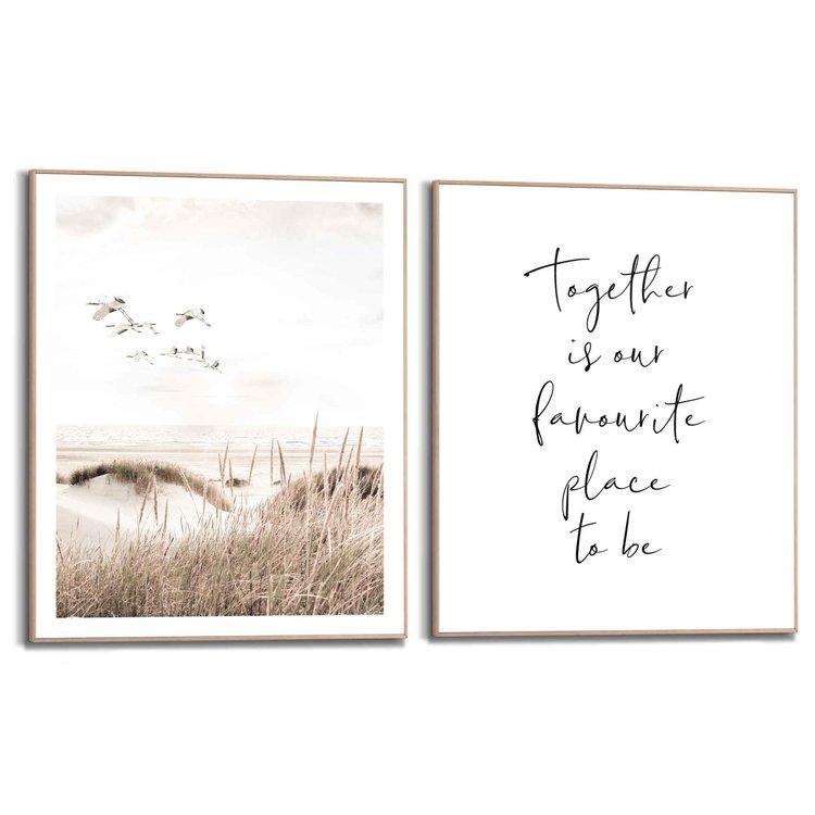 Kraanvogels Vrijheid - Strand - Duinen - Liefde - Familie - Samen - Set van 2 schilderijen  Hout