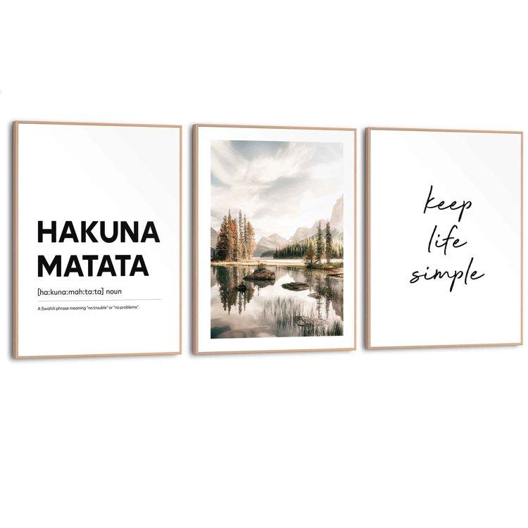 Hakuna Matata Tekst - Bergen - Levensmotto - Vrijheid - Geluk - Set van 3 schilderijen  Hout