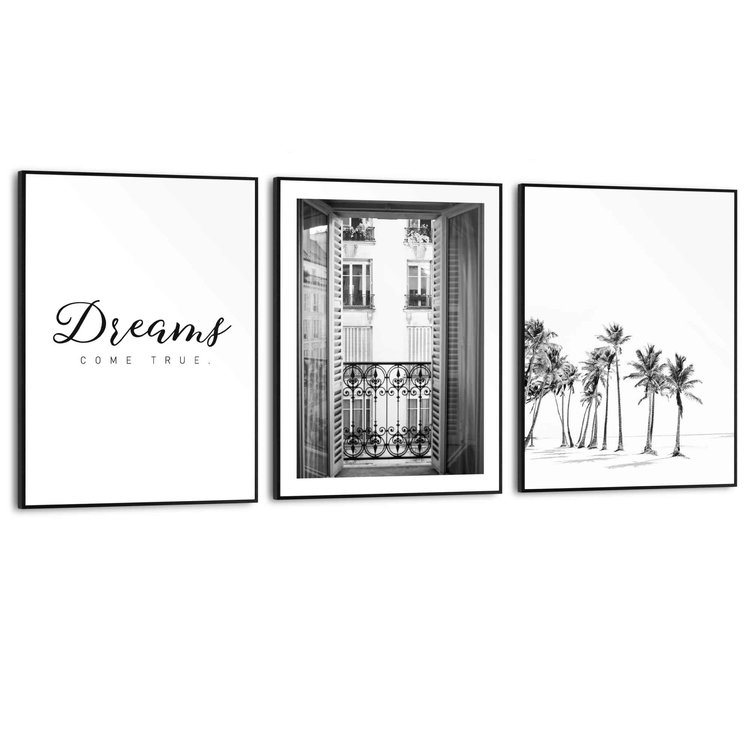 Dreams come True Dromen - Palmbomen - Strand - Balkon - Vintage - Set van 3 schilderijen  Hout