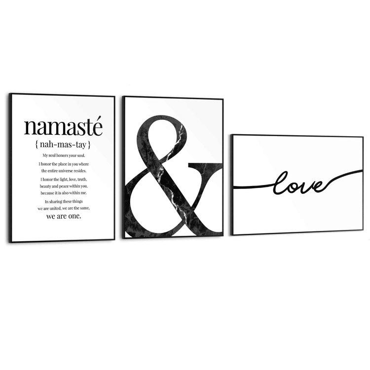 Namasté Love - Quote - Groet - Liefde - Set van 3 schilderijen  Hout