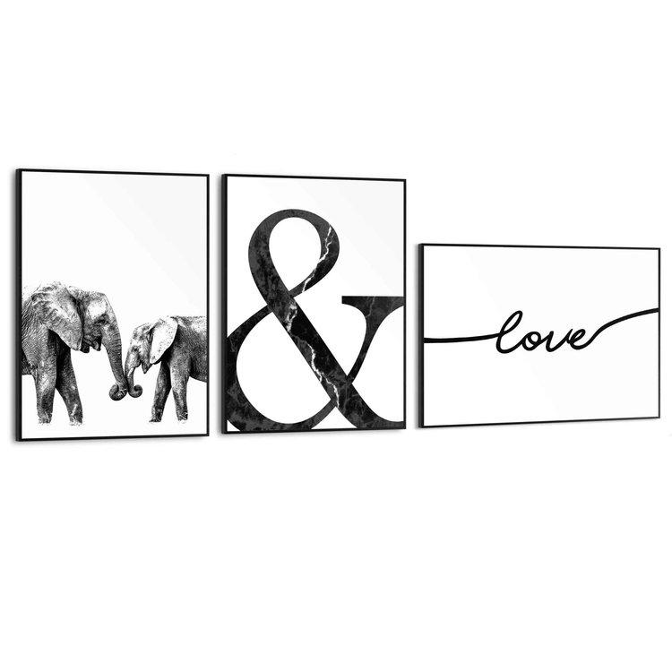 Liefde  Olifant - Modern - Minimalistisch - Trendy - Set van 3 schilderijen  Hout