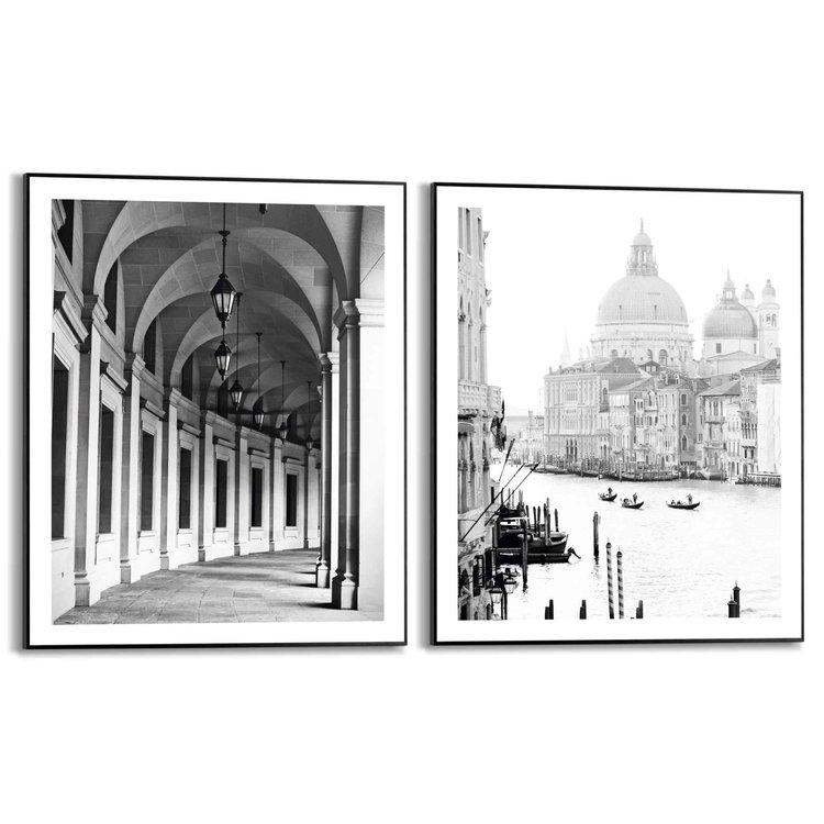 Reizen Venice - Vintage - Washington DC - Architectonisch - Set van 2 schilderijen  Hout
