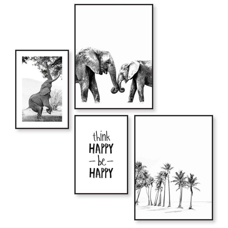 Happy  Blij - Strand - Olifant - Palmboom - Set van 4 schilderijen  Hout