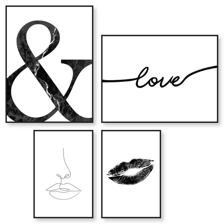 Lijnen Pentekening - Modern - Lippen  - Set van 4 schilderijen  Hout
