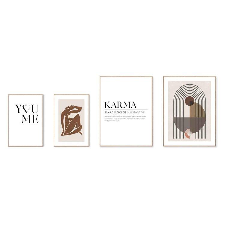 Karma Abstract - Liefde - Vrouw - Patronen  - Set van 4 schilderijen  Hout