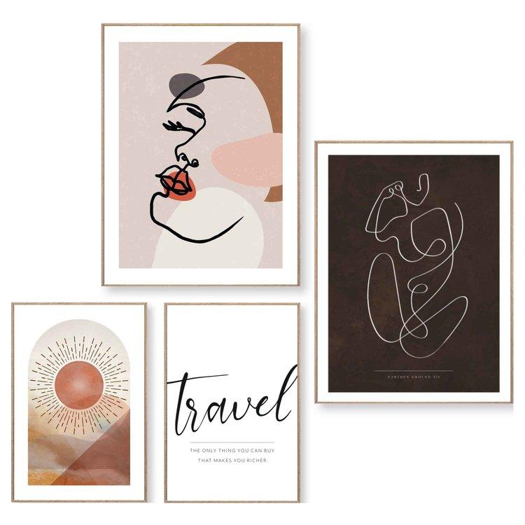 Abstracte vormen Lijnen - Tekst - Vrouw - Vrijheid - Reizen - Set van 4 schilderijen  Hout