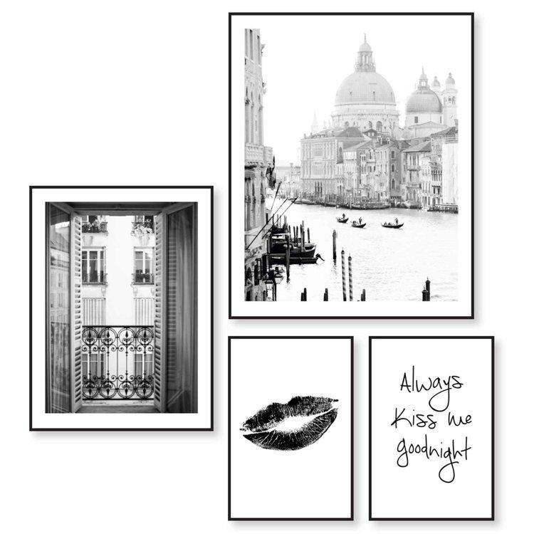 Liefde Frankrijk - Italie - Vintage - Zoen - Tekst - Set van 4 schilderijen  Hout