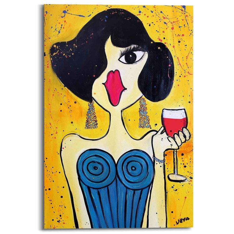 Dame Kleurrijk - Wijn - Vrouw - Kunst - Karikaturaal  - Schilderij Deco Panel 60 x 90 cm MDF