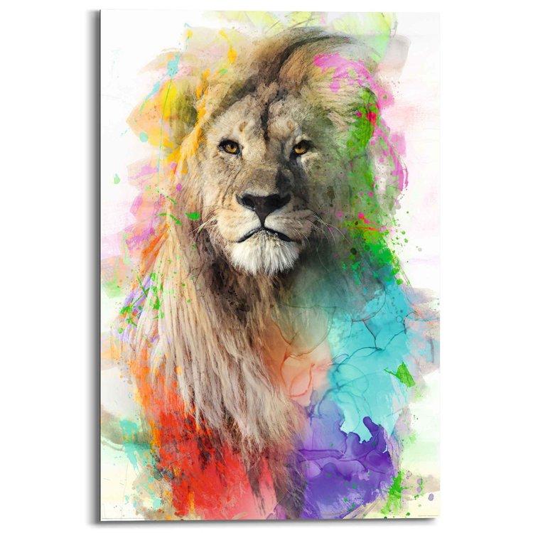 Leeuw  Watercolour - Kleurrijk - Jungle  - Schilderij Deco Panel 60 x 90 cm MDF