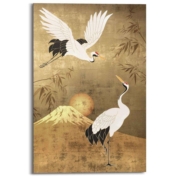 Kraanvogels Japan - Roodkroon - Tsuru - Kunst  - Schilderij Deco Panel 60 x 90 cm MDF