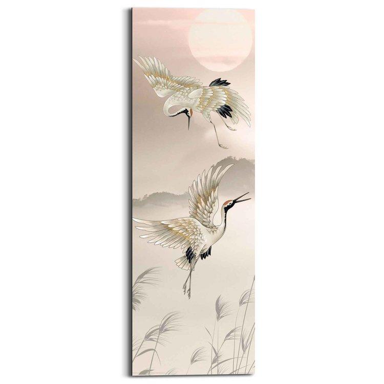 Kraanvogels Japan - Roodkroon - Tsuru - Kunst  - Schilderij Deco Panel 30 x 90 cm MDF