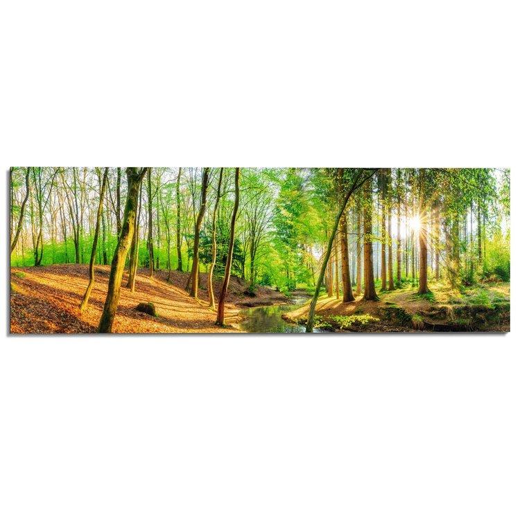 aume Natuur - Bomen - Kreek - Bladeren  - Schilderij Deco Panel 156 x 52 cm MDF
