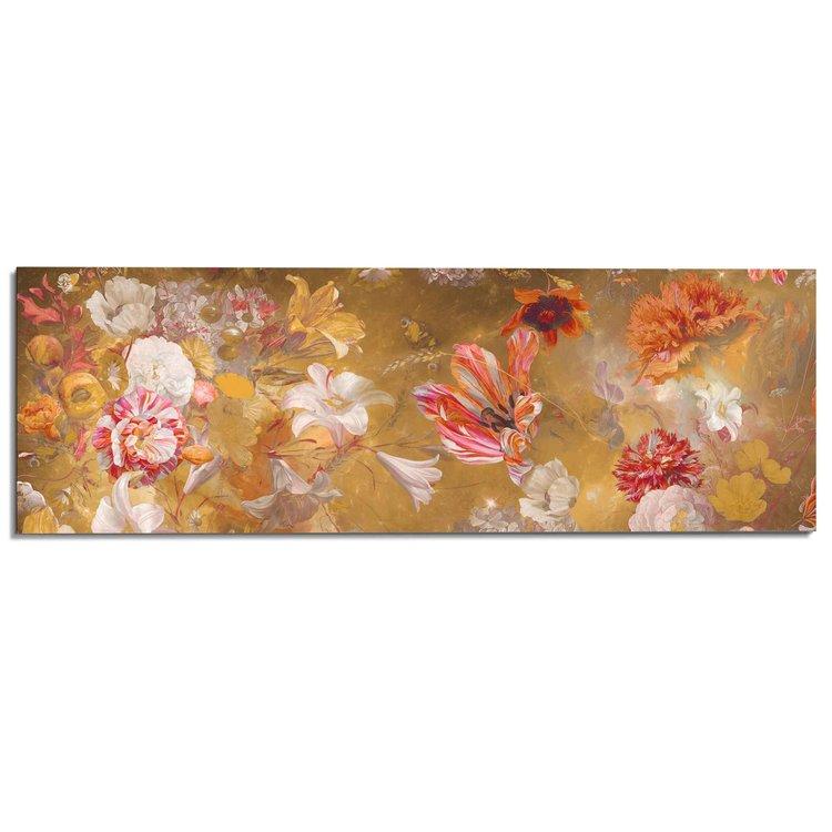 Stilleven met bloemen Trendy - Jan Davidsz de Heem - Moderne kleuren  - Schilderij Deco Panel 156 x 52 cm MDF