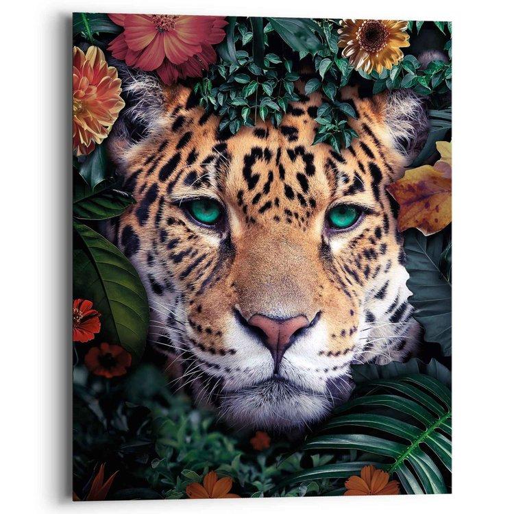 Jungle luipaard Bloemen - Planten - Kleurrijk - Schilderij Deco Panel 40 x 50 cm MDF