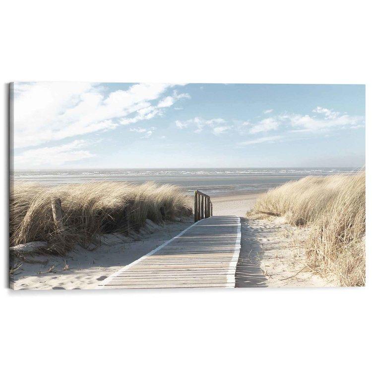 Pad door de duinen Strand - Zee - Zon - Duinen - Schilderij Deco Block 118 x 70 cm MDF