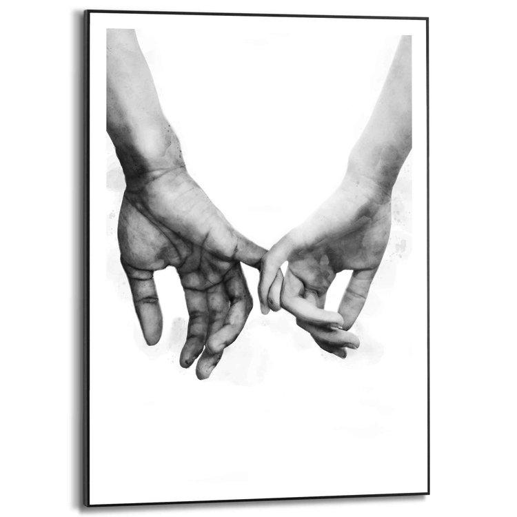 Liefde Koppel - Romantiek - Handen - Wandelen - Schilderij Slim Frame 50 x 70 cm MDF
