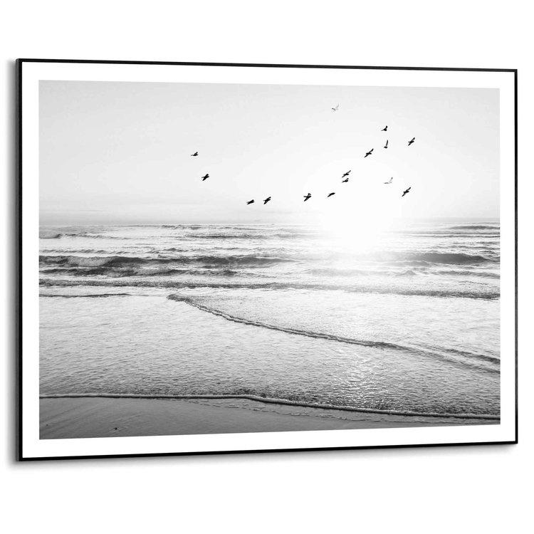 Zonsondergang  Cap Ferret - Frankrijk - Atlantische Oceaan - Strand  - Schilderij Slim Frame 70 x 50 cm MDF