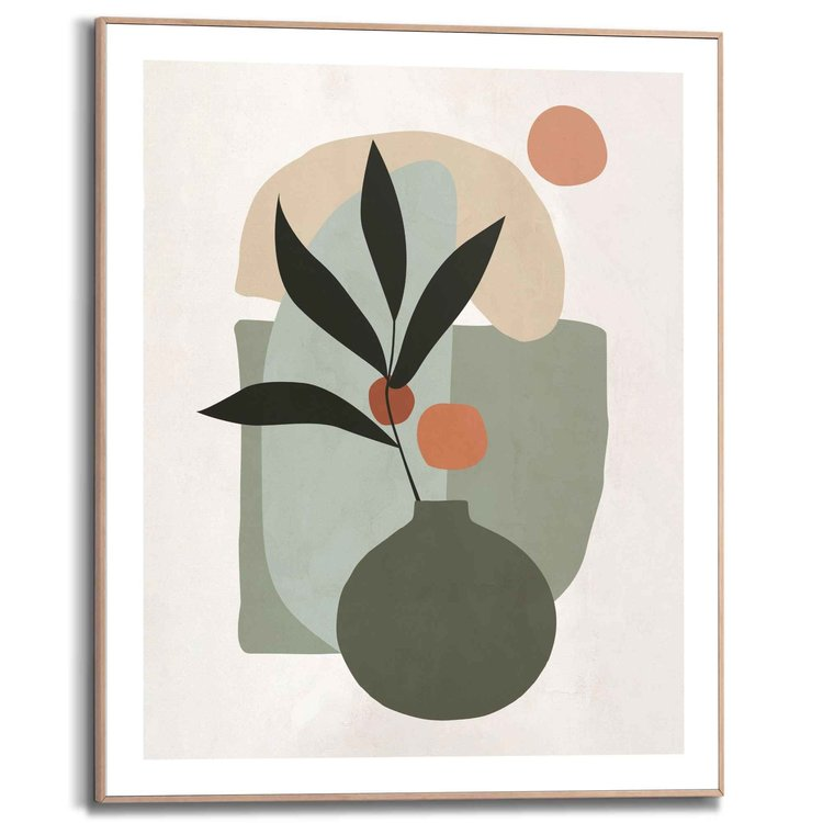 Vaas met bloemen Abstract - Schildering - Vormen  - Schilderij Slim Frame 40 x 50 cm MDF