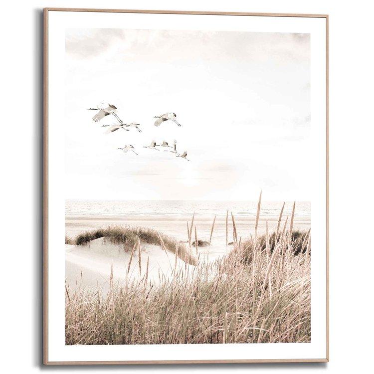 Kraanvogels   Strand - Duinen - Vrijheid - Gras  - Schilderij Slim Frame 40 x 50 cm MDF