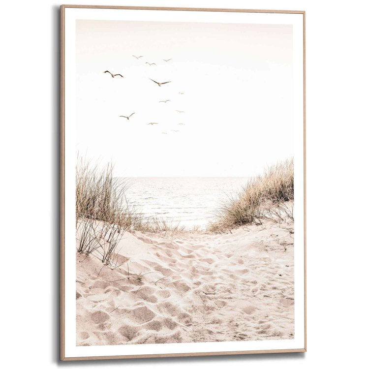 Duinen  Strand - Gras - Voetstappen - Vrijheid - Vogels  - Schilderij Slim Frame 50 x 70 cm MDF