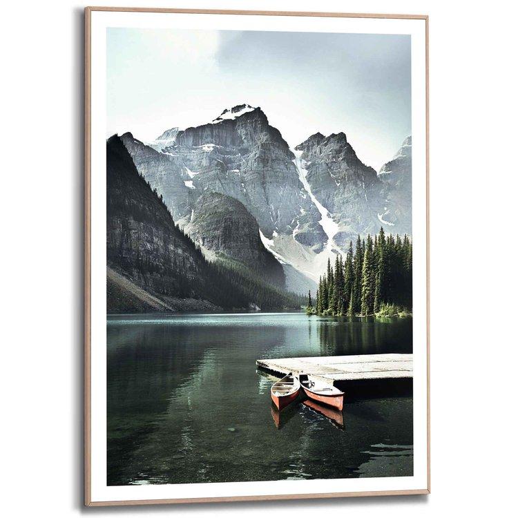 Lake Moraine  Canada - Bergmeer - Banff National Park - Rocky Mountains  - Schilderij Slim Frame 50 x 70 cm MDF