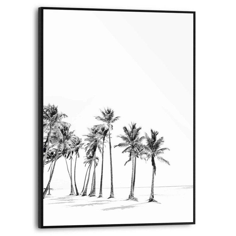 Palmboom Strand - Zon  - Schilderij Slim Frame 30 x 40 cm MDF