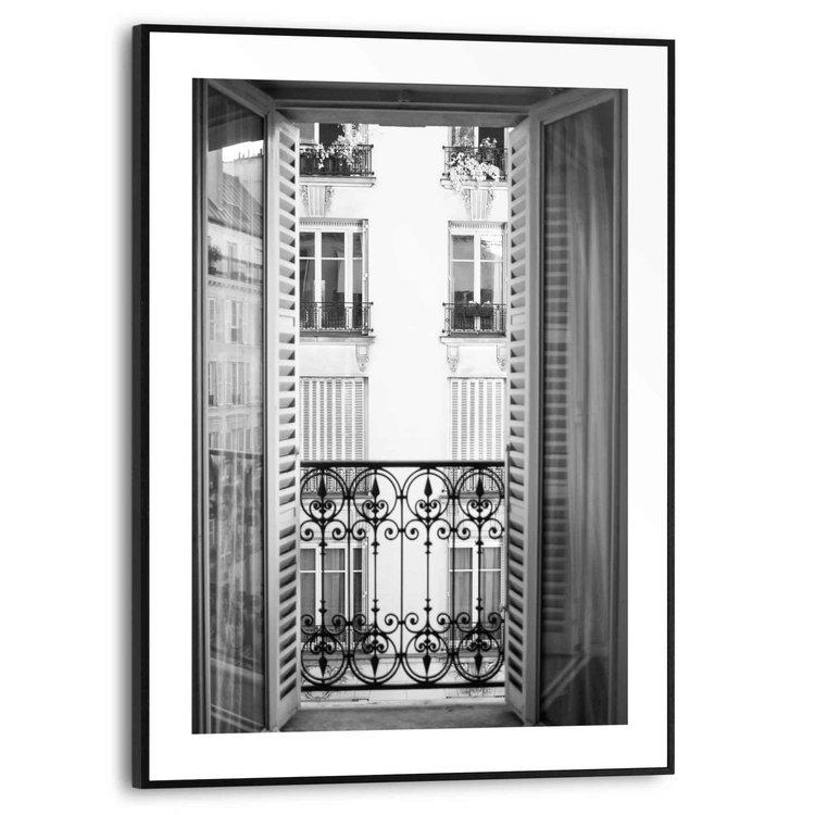Frans Balkon Frankrijk - Straat - Vintage  - Schilderij Slim Frame 30 x 40 cm MDF