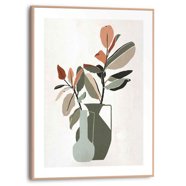 Vaas met bloemen Abstract - Tekening - Bladeren - Takken  - Schilderij Slim Frame 30 x 40 cm MDF