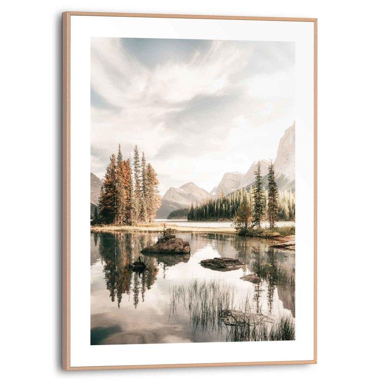 Bergmeer  Schaduw - Zon - Lucht - Bomen  - Schilderij Slim Frame 30 x 40 cm MDF